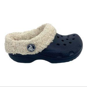 Crocs Toddler Fleece Lined Navy Winter Clogs